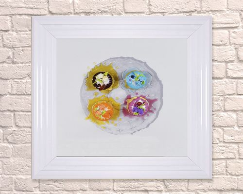 Large Grey Plate Dessert White 65cm Frame 3D Artwork